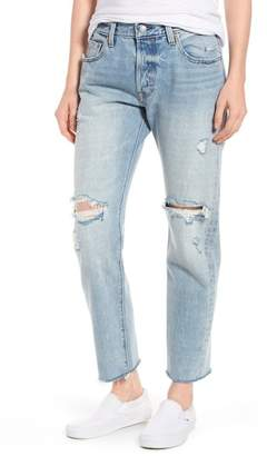 Levi's 501(R) Ripped High Waist Crop Jeans (Crazy Cool)