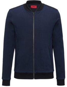 HUGO BOSS Cotton Full-Zip Sweat Jacket Dacido M Dark Blue