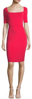 Milly Short-Sleeve Square-Neck Sheath Dress