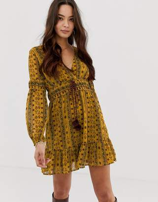 Moon River printed tie waist skater dress