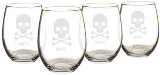 Cathy's Concepts Cathys Concepts Personalized Skull and Crossbones 21 Oz. Stemless Wine Glasses