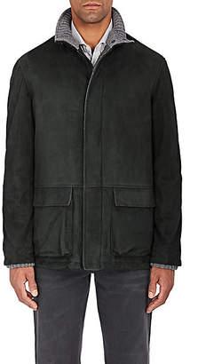 Barneys New York Men's Suede Zip-Front Coat - Green