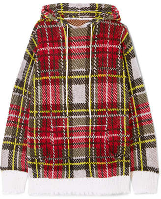 R 13 Distressed Tartan Cashmere Hoodie - Red