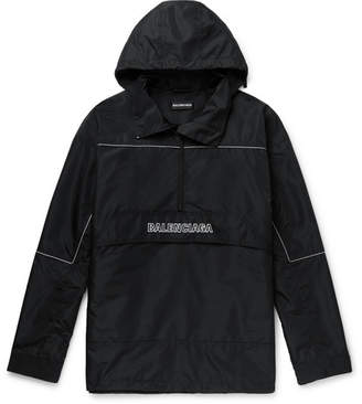 Balenciaga Oversized Logo-Embroidered Ripstop Half-Zip Hooded Jacket
