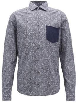 BOSS Hugo Slim-fit shirt in cotton cable-knit print XL Dark Blue