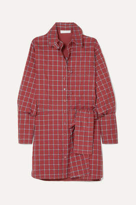 Chloé Knotted Checked Cotton-blend Poplin Dress - Brick