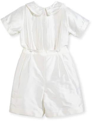 Isabel Garreton Boys' Sebastian Two-Piece Silk Ring Bearer Set, White, Size 2-4