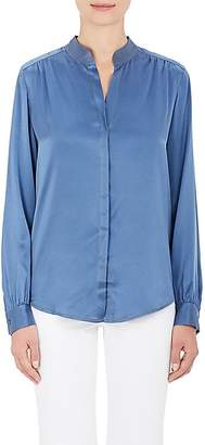 L'Agence WOMEN'S BIANCA SILK BANDED COLLAR BLOUSE