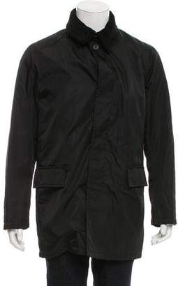 Prada Shearling-Trimmed Layered Jacket