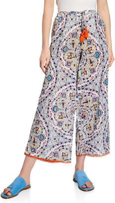 Nordic Pure Beach Dove-Print Wide-Leg Drawstring Crop Pants