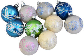 One Kings Lane Vintage Glitter Christmas Ornaments w/Box - Set of 10