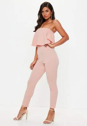 Missguided Pink Bandeau Double Layer Romper