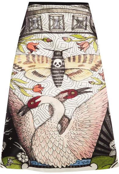 Gucci - Printed Duchesse Silk-satin Midi Skirt - Beige