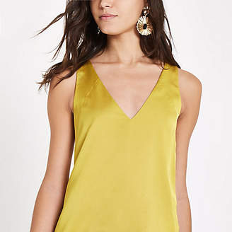 River Island Womens Yellow V neck sleeveless bar back top