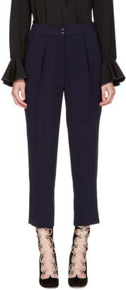 See by Chloe Navy Crepe Sable Trousers