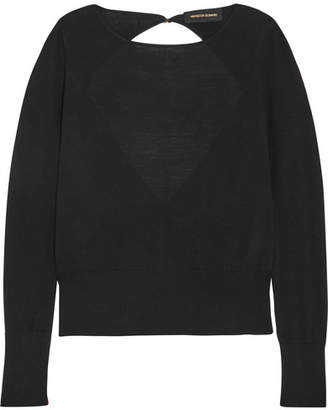 Vanessa Seward Open-back Merino Wool-blend Sweater - Black