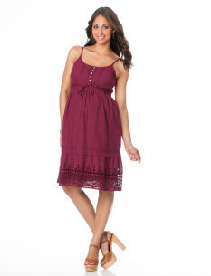 Motherhood Spaghetti Strap Empire Waist Maternity Dress