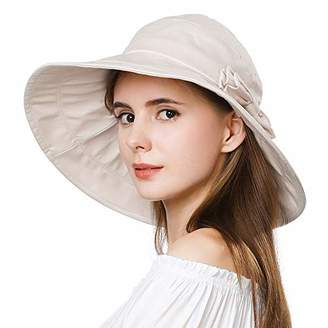 BEIGE Jeff & Aimy Womens Sun Hat Floppy SPF 50 UV Protection Foldable Large Brim Summer Bucket Gardening Sunhat with Chin Strap Stylish Bow Medium