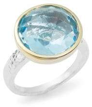 Gurhan Faceted Blue Topaz, 24K Gold-Plated & Sterling Silver Ring