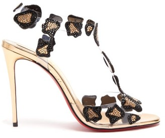 Christian Louboutin Parsemis Crystal Embellished T Bar Sandals - Womens - Black Gold