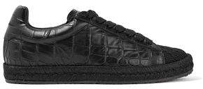 Alexander Wang Rian Croc-Effect Leather And Woven Sneakers
