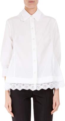 Simone Rocha 3/4-Sleeve Lace-Trim Boyfriend Shirt