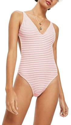 Topshop Shirred One-Piece Swimsuit