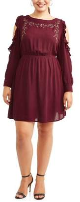 Cherokee Women's Plus Size Long Sleeve Cold Shoulder Dress with Ruffle Detail