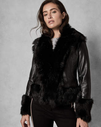 Ted Baker HARLINI Shearling leather mix jacket