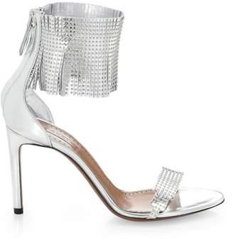 Alaia Studded Fringe Leather Ankle-Strap Sandals