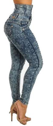 ModaXpressOnline Cafe Siete Extra High Waist Ripped Butt Lift Skinny Jeans 10613N