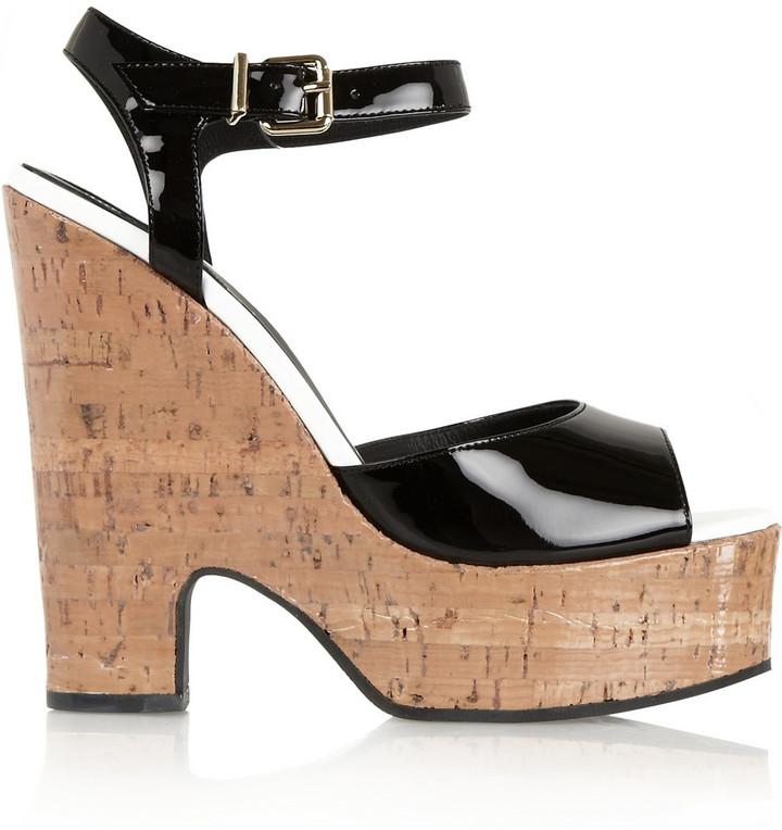 Fendi Patent-Leather and Glossed-Cork Platform Sandals