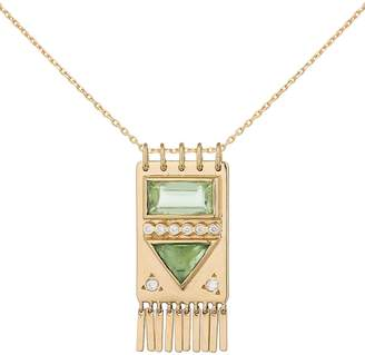 Celine Daoust Wide Green Tourmaline and Diamond Totem Necklace - Yellow Gold