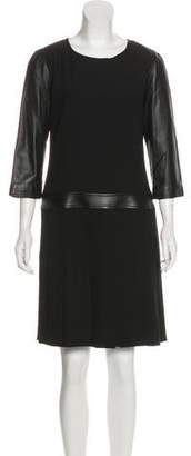 The Kooples Leather Accented Long Sleeve Dress w/ Tags