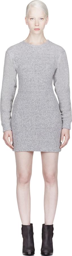 Alexander Wang Heather Grey Brushed Wool Sweatshirt Dress