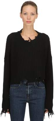 Diesel Destroyed Cropped Rib Knit Wool Sweater