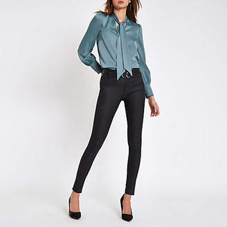 River Island Blue tie neck loose fit blouse