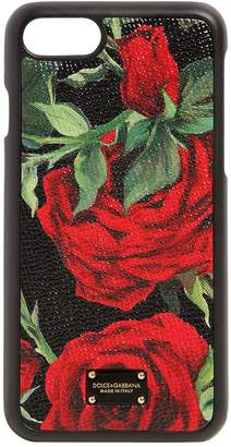 Dolce & Gabbana Rose Print Leather Iphone 8 Plus Cover