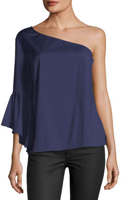 Marled By Reunited One-Shoulder Bell-Sleeve Blouse