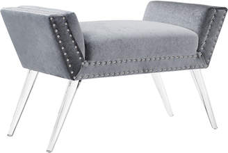 Linon Allie Silver Vanity Acrylic Leg Bench