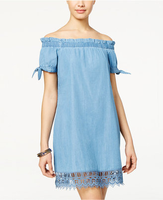American Rag Tie-Sleeve Lace-Trim Chambray Shift Dress, Only at Macy's $69.50 thestylecure.com