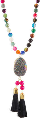 Panacea Multi-Stone Druzy Tassel Pendant Necklace