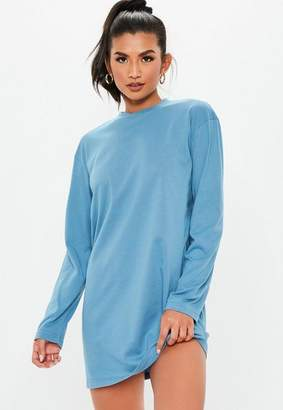 Missguided Blue Long Sleeve T Shirt Mini Dress