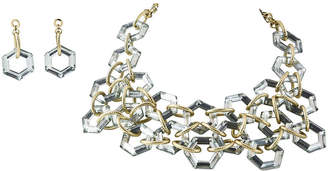 One Kings Lane Vintage Statement Bib Necklace & Drop Earrings