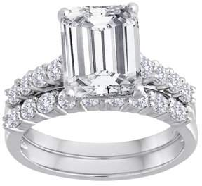 Swarovski Pure Perfection Certified Bridal Pure Perfection Certified Bridal Ring with Emerald-Cut Center Stone Made with Zirconia
