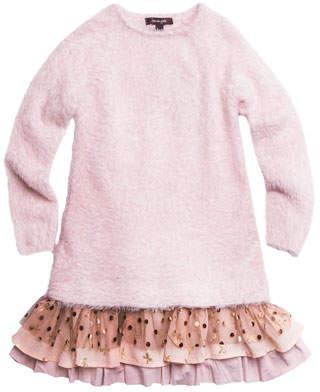 Imoga Long-Sleeve Yarn Dress w/ Tiered Drop Waist, Size 4-6