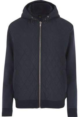 River Island Navy quilted puffer jersey sleeve hoodie