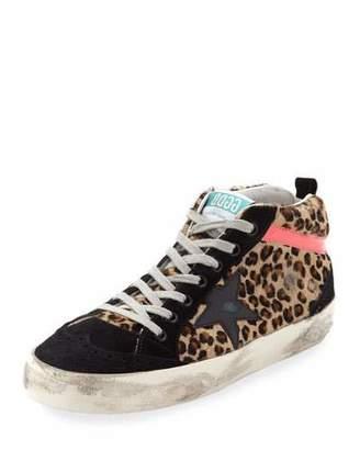 Golden Goose Mid-Top Leopard Calf Hair Sneakers