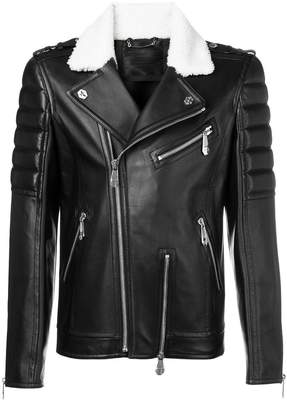 3273edeb6d Philipp Plein Black Leather & Suede Coats For Men - ShopStyle UK