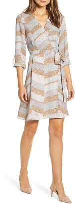 Bobeau Print Long Sleeve Roll-Tab Faux Wrap Dress